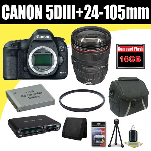 Canon EOS 5D Mark III 22.3 MP Full Frame CMOS with 1080p Full-HD Video Mode Digital SLR Camera w/ EF 24-105mm f/4 L IS USM Lens + LP-E6 Replacement Lithium Ion Battery + 16GB Compact Flash Memory Card + 72mm UV Filter + Carrying Case + SDHC Card USB Reader + Memory Card Wallet + Deluxe Starter Kit Deluxe Accessory Kit