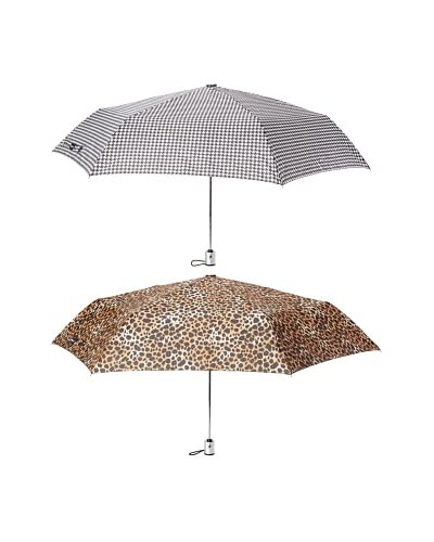 London Fog Women's 2-Pack Tiny Mini Auto Open/Close Umbrella Leopard/Houndstooth As You See