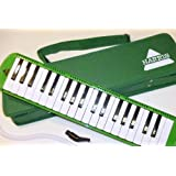 Deluxe Harris Musical Green Melodica with Matching Green Deluxe Case With Free AAA Musical Polishing Cloth (Color: Green)