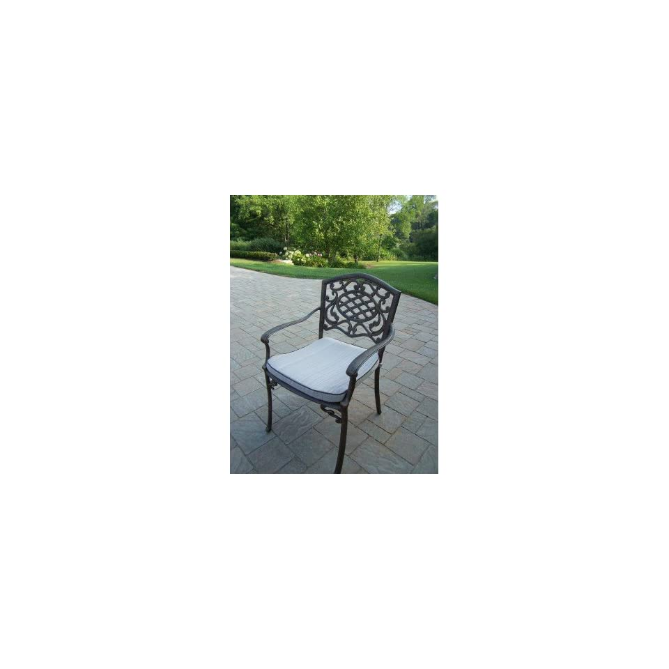 Oakland Living Mississippi Cast Aluminum Fully Welded Arm Chair with Cushion