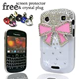 FOR BLACKBERRY 9900 BOLD LUXURY PINK BOW CRYSTAL DIAMOND WHITE CASE DIAMANTE BLING COVER