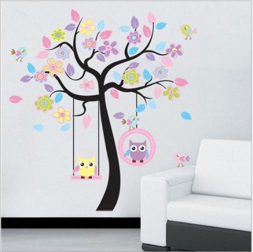 Home Decor Decals Poster House Wall Stickers Quotes Removable Vinyl Large Wall Sticker For Kids Rooms Flowers Tree Owls W-94 front-1040414