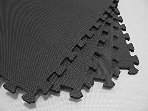 "48 Square Feet ( 12 tiles + borders) 'We Sell Mats' Charcoal Gray 2' x 2' x 3/8"" Anti-Fatigue Interlocking EVA Foam Exercise Gym Flooring"