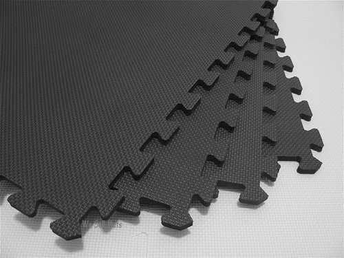 "We Sell Mats' Charcoal Gray 2' x 2' x 3/8"" Anti-Fatigue Interlocking EVA Foam Exercise Gym Flooring"