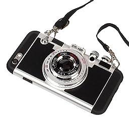 iPhone 6 Plus Case, iPhone 6s Plus Cute Case, 3D Unique Design Camera Case PC + Silicone Shockproof Hybrid Cover Case with Long Strap Rope (Black)