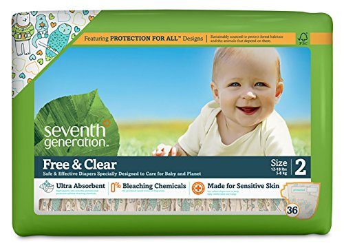 Seventh Generation Free & Clear Unbleached Diapers - Size 2 - 36 ct - 1