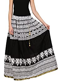 Saadgi Rajasthani Hand Block Printed Handcrafted Pure Rayon Lehnga Skirt For Women/Girls - B06XGJ2CTD