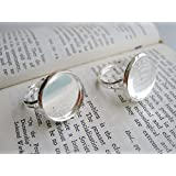 20pcs Brass Silver Plated Tone Adjustable Ring Base 20mm Round Bezel Setting Cabochon Mountings