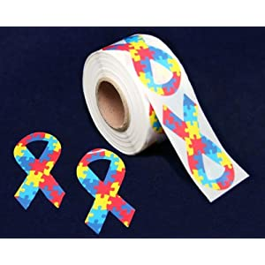 Autism Ribbon Stickers Roll - Large Ribbon