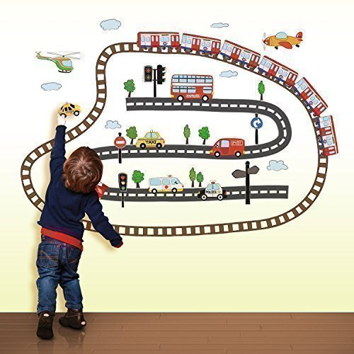Walplus Ws6024 Kid's Transport Wall Stickers ,Home Decoration , 120Cm X 80Cm ,Pvc , Transparent , Removable, Multi-Color - 1