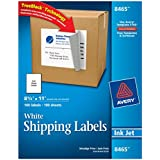 Avery® White Full-Sheet Labels for Inkjet Printers with  TrueBlock(TM) Technology, 8-1/2 inches x 11 inches, Box of 100 (8465)