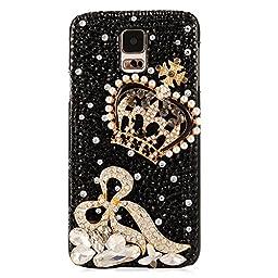 Samsung Galaxy S5 Case, Sense-TE Luxurious Crystal 3D Handmade Sparkle Glitter Diamond Rhinestone Ultra-Thin Clear Cover with Retro Bowknot Anti Dust Plug - Crown Bowknot / Black