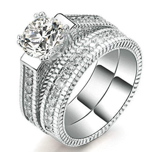 Womens Wedding Engagement Bands Ring Sets 18K White