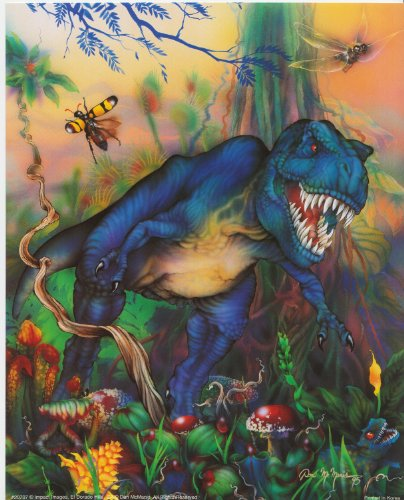 Triceratops T Rex Dinosaur And Her Baby Kids Room Wall Decor Art Print Picture (8X10)