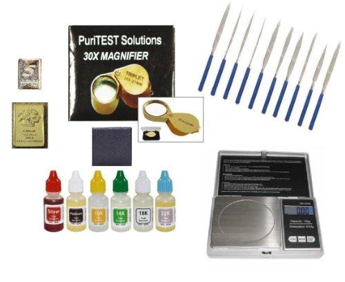 Scrap Jewelry Organizer: Gold Silver Platinum and Diamond Test Kit: Precious Metals Acids, Carat Scale, Jeweler Loupe, File Set and More