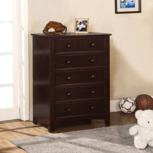 Furniture Of America Furniture Of America Cottage Style 5 Drawer Chest, Dark Walnut, Walnut front-698912