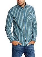 New Caro Camisa Hombre Camisa (Azul Claro)