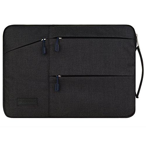 STONG MacBook 11-12インチ対応バッグ PCスリーブ パソコンケース キャンバス ズック アサ 毛織地 ラップトップケース 四つポケット 防水 傷防止 衝撃防止 ブラック