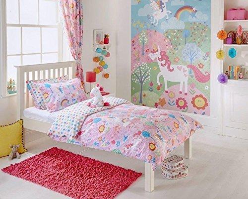 Licorne-Design-Bb-Ensemble-De-Couette-Petit-Lit-ensemble-de-couette-Rideaux-Art-Mural-en-rose