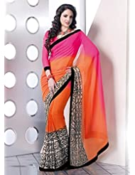 Trendz Pink And Orange Chiffon Saree With Black Lace