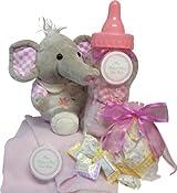 Sweet Baby Girl or Boy Bottle Savings Bank with Plush Elephant
