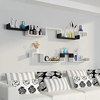 Homdox Wall Shelves Set of 3 Large Floating U Shelves DIY, Black