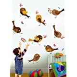 Rawpockets Decal ' Cute Bird And Its Action' Multi-Color Extra Large Size Wall Sticker(Material- PVC Vinyl Matte Finish,Wall Coverage Area -Height -60cm X Width -155cm)( Pack Of 1)