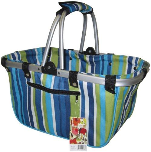 """JanetBasket Blue Stripes Large Aluminum Frame Bag-18""""X10""""X9-1/2"""" from JanetBasket"""