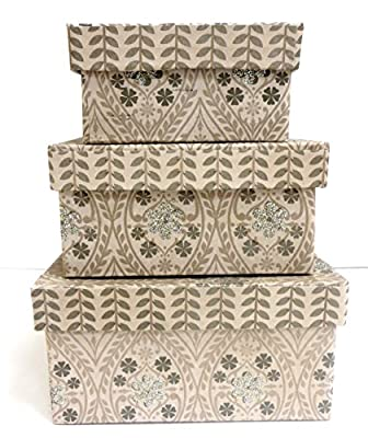 Square Gift Box - set of 3, Leaf Design with Glitter