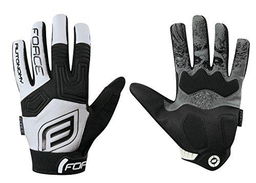 Force de bicicleta guantes de autonomía, de largo guantes, guantes de agarre de Gel, color Blanco - blanco, tamaño S