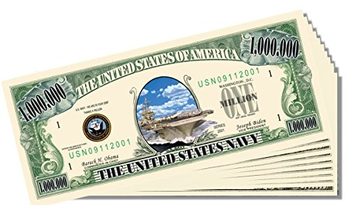 Military - Navy Novelty Million Dollar Bill - 25 Count with Bonus Clear Protector & Christopher Columbus Bill