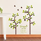 Asmi collection PVC Wall Stickers Wall Decals Beautiful Green Tree and Birds