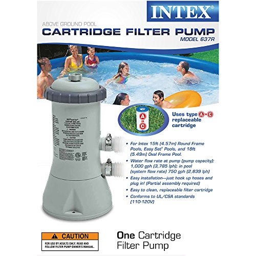 Intex Krystal Clear Cartridge Filter Pump For Above Ground Pools 1000 Gph New Ebay