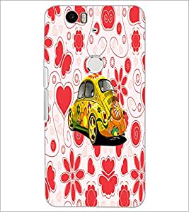 PrintDhaba Floral Car D-4493 Back Case Cover for HUAWEI NEXUS 6P (Multi-Coloured)