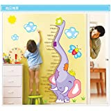 Amaonm® Cute Cartoon Curved Elephant Nose & Sun Clouds Flowers Height Chart Wall Decals Nursery Height Measurement...
