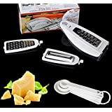 impalla Mouse Grater - Tri Blade - Vegetable Cutter, Mandoline Slicer, Cheese Grater - Food Compartment - Plus 5 Measuring Spoons