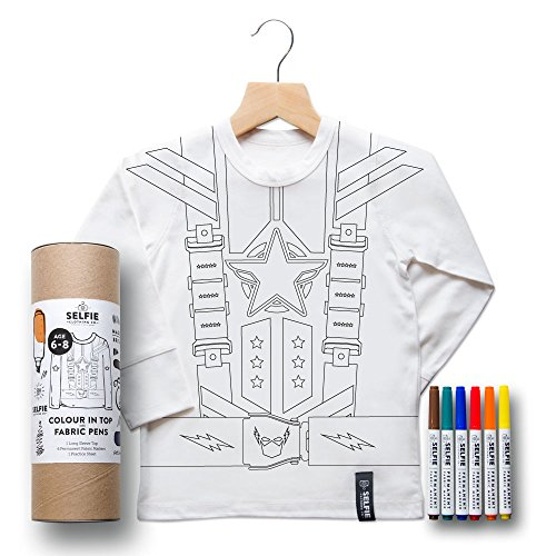 Super Hero Design T-Shirt for colouring in.