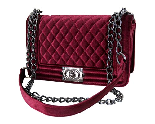 Damen handtasche mit modischem steppmuster in bordeaux rot for Schminken 20er