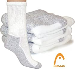 Head Power Cushioned Crew Socks w/ Ultra Soft Combed Cotton - Men 6 Pair Pack