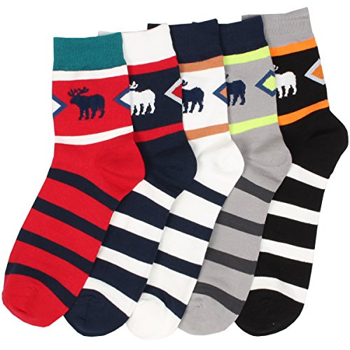 Men'S 5 Pairs Christmas Gift Deer Stripe Comfy Casual Cotton Fashion Crew Socks