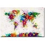 Trademark Fine Art Paint Splashes World Map by Michael Tompsett Canvas Wall Art, 30x47-Inch
