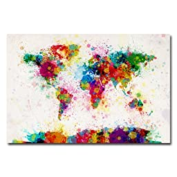Trademark Fine Art Paint Splashes World Map by Michael Tompsett Canvas Wall Art, 30x47-Inch