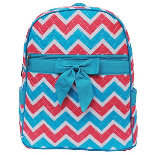 Aqua & Coral Colorful Chevron Print Quilted Backpack