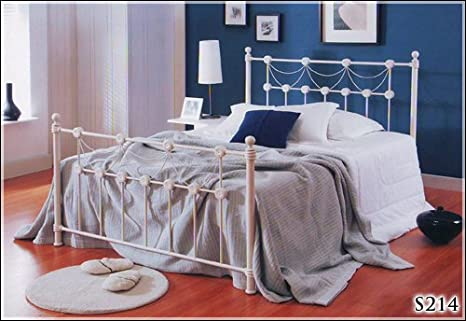 BRAND NEW 5ft METAL IVORY KINGSIZE BED FRAME AND SLUMBER SLEEP PREMIUM 2000 MEMORY FOAM MATTRESS