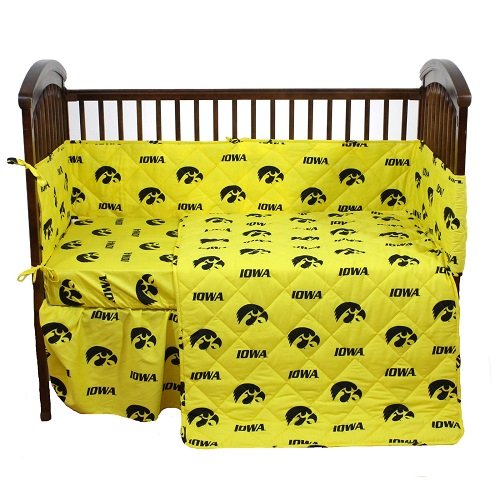 """Iowa Hawkeyes 5 Piece Crib Set And Set Of Two (2) Matching Window Valance/Drape Sets (Drape Length 84"""") - Entire Set Includes: (1) Reversible Comforter, (1) Bed Skirt , (2) Fitted Sheets, (1) Bumper Pad And (2) Matching Window Valance/Drape Sets To Decora front-960402"""