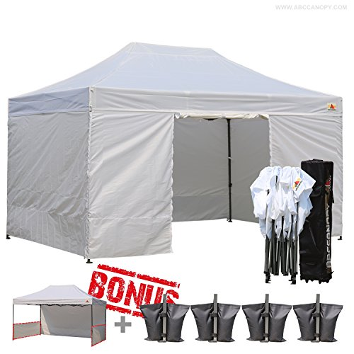 Abccanopy Deluxe 10x15 Pop up Canopy Outdoor Party Tent Commercial Gazebo with Enclosure Walls and Wheeled Carry Bag Bonus 4x Weight Bag and 2x Half Walls (white) (10x20 Canopy Commercial compare prices)
