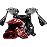 Youth Motocross ATV Helmet Dirt Bike Gloves Goggles and Youth Chest Protector Red, Large