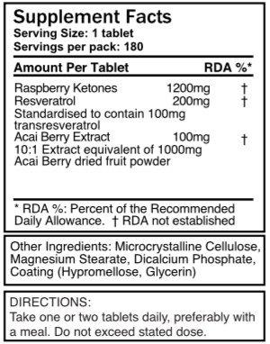 Triple strength Raspberry Ketones - 1500mg x 180 - with Resveratrol & Acai Berry. 99.94% pure - 3 x strength of normal Raspberry ketones. SKU: RK3