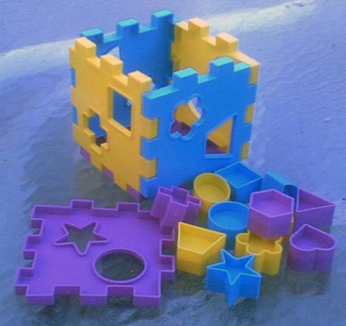Baby Toy - Plastic Puzzle Cube with 12 Shaped Pieces for 18 Months+