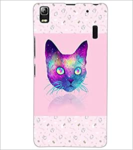 PrintDhaba Cat D-3464 Back Case Cover for LENOVO A7000 (Multi-Coloured)